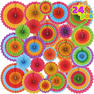 24 Colorful Hanging Paper Fan Round Wheel Disc for Fiesta Party Supplies Decoration, Luau Event Photo Props, Cinco De Mayo Mexican Festivals, Carnivals, Taco Tuesday Event.