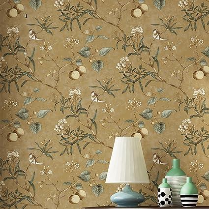 Blooming Wall Vintage Flower Trees Birds Wallpaper for Livingroom Bedroom  Kitchen,57 Square Ft. (Vintage Brown Multi)