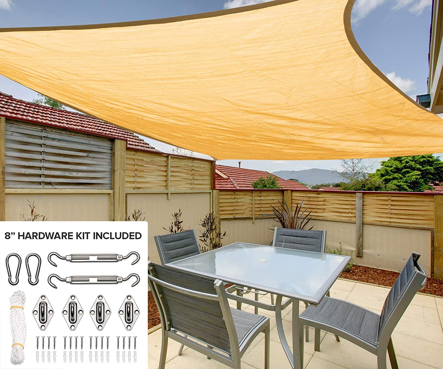 12 x16 Rectangle Sun Shade Sail Canopy in Sunburst- Durable Outdoor Patio Cover Pergola Awning – Heavy Duty 8 inch Stainless Steel Hardware Kit 12 x16 Rectangle, Sunburst