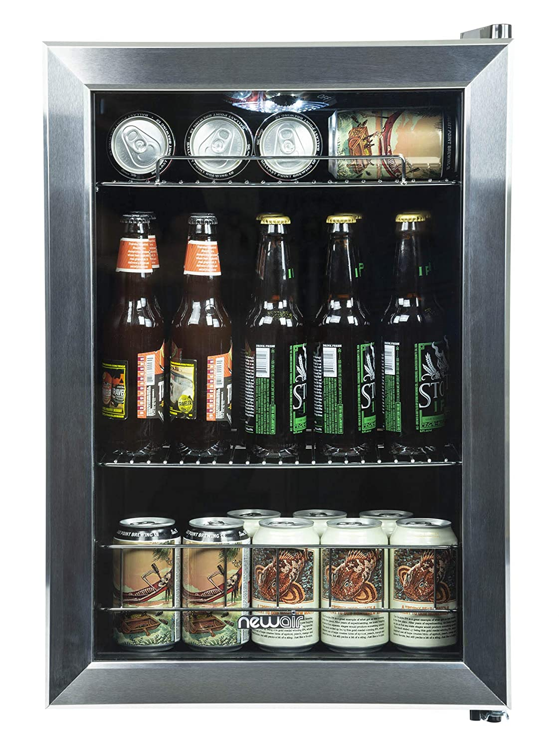 NewAir Beverage Cooler and Refrigerator, Small Mini Fridge with Glass Door, Perfect for Soda Beer or Wine, 90-Can Capacity, AB-850