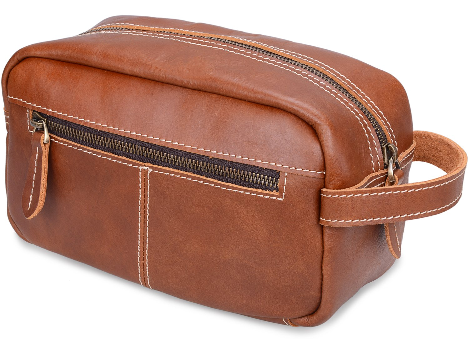 ALTOSY Mens Leather Toiletry Bag Travel Shaving Dopp kits Organizer Case (YD8102, Light Brown)
