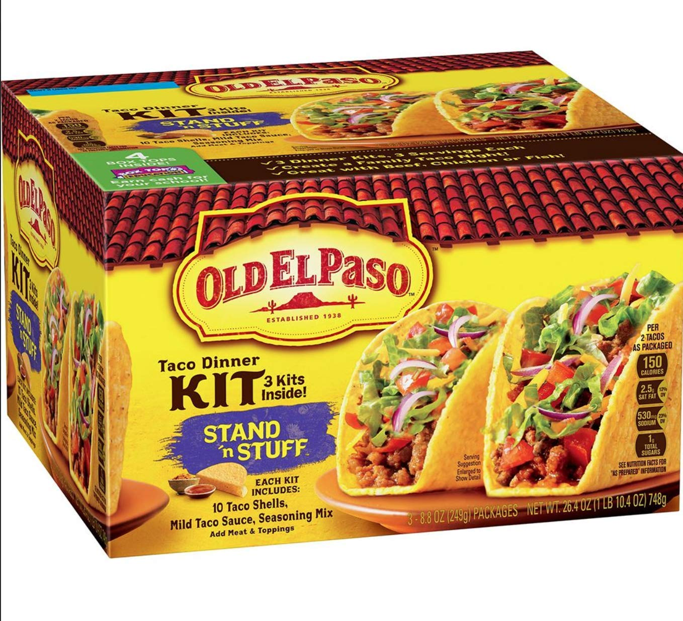 Amazon Com Old El Paso Stand N Stuff Taco Dinner Kit 3 Pk 30 Shells Total Grocery Gourmet Food