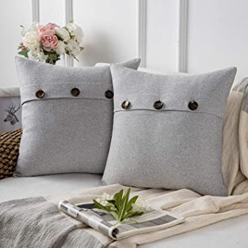 Phantoscope Farmhouse Throw Pillow Covers Triple Button Vintage Linen Decorative Pillow Cases for Couch Bed and Chair Light Grey, 22 x 22 inches 55 x ...