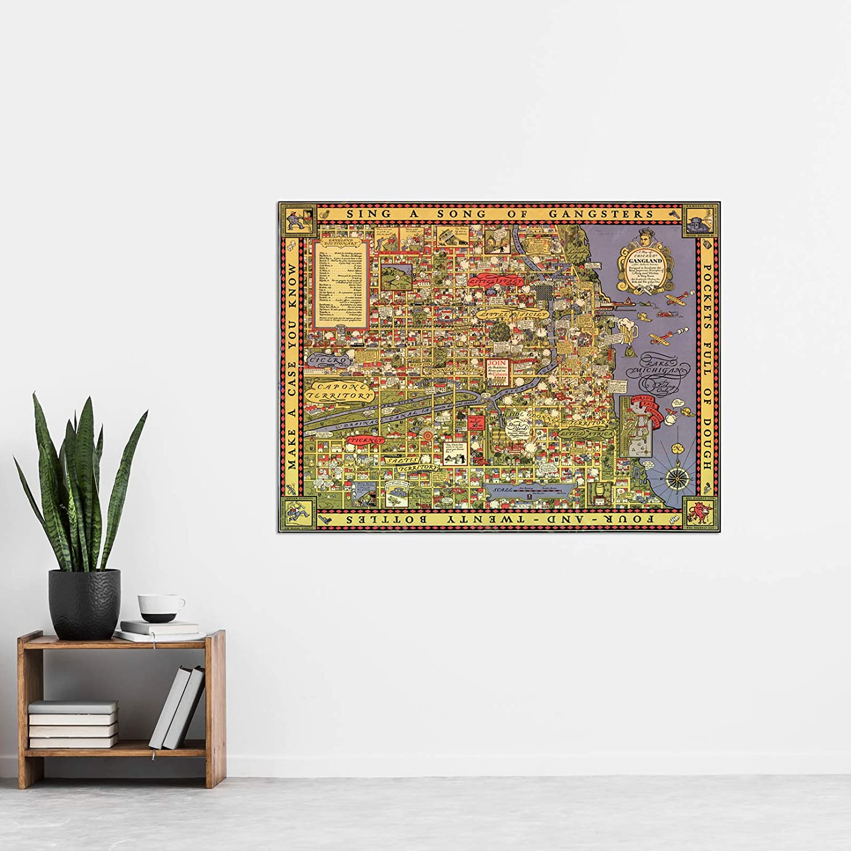 Erickson 1931 Map Chicago Gangland Capone XL Canvas Art Print