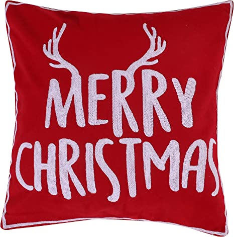 Amazon Com Levtex Home Rudolph Decorative Pillow 18x18in Merry Christmas Red And White Home Kitchen