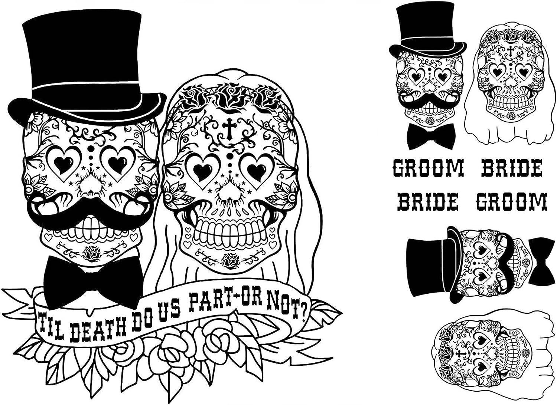 Sugar Skull Bride Groom Til Death Black 17CC845 Fused Glass Decals