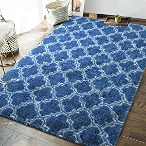 Andecor Geometric Bedroom Rugs - 5 x 8 Feet Shaggy Area Rug Mordern Indoors for Living Room Girls Boys Kids Room Dorm Nursery Home Holiday Decor Floor Carpet, Light Royal