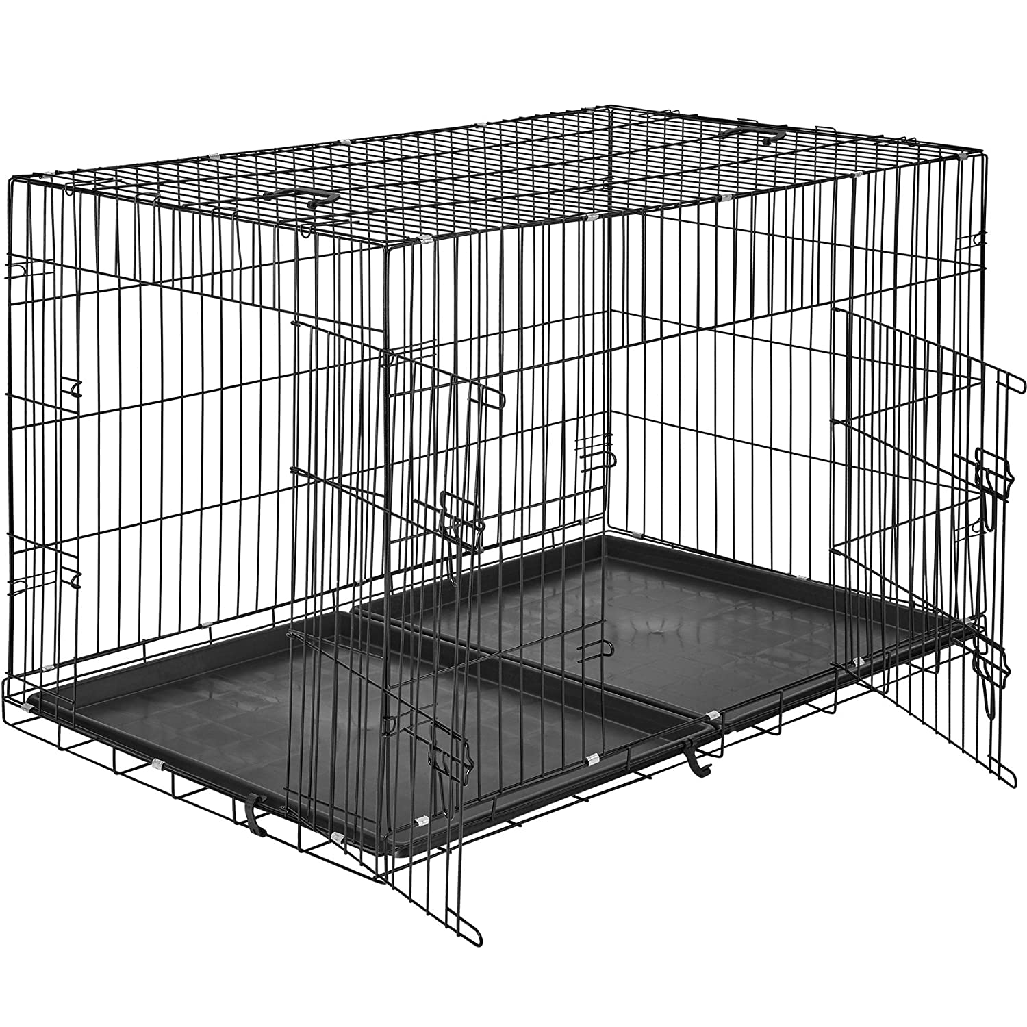 122x76x81cm   No. 402297 TecTake Dog crate Transport carrier   2 large doors with bar locks   Collapsible   Different models (122x76x81cm   No. 402297)