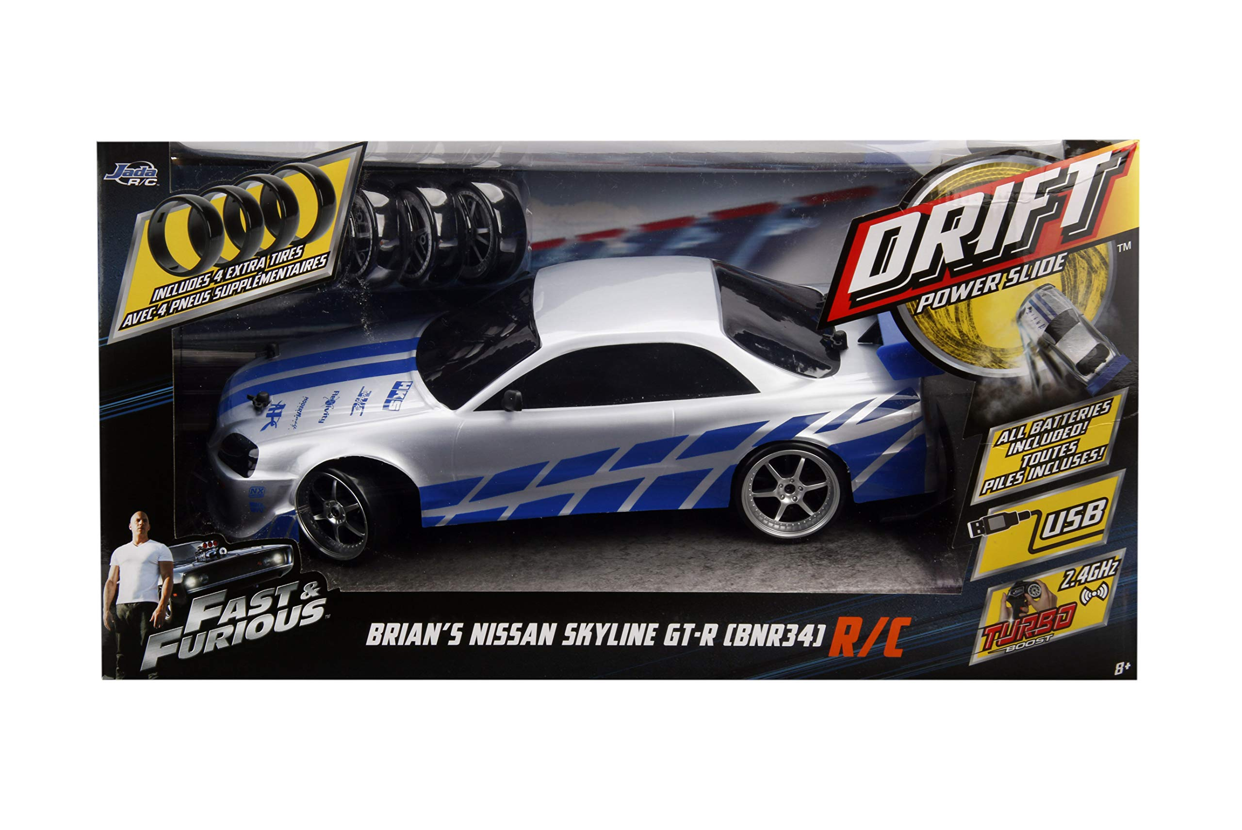 Jada 99701 Toys Fast & Furious Brian's Nissan Skyline GT-R (BN34) Drift Power Slide RC Radio Remote Control Toy Race Car with Extra Tires, 1:10 Scale, Silver/Blue by Jada (Image #6)