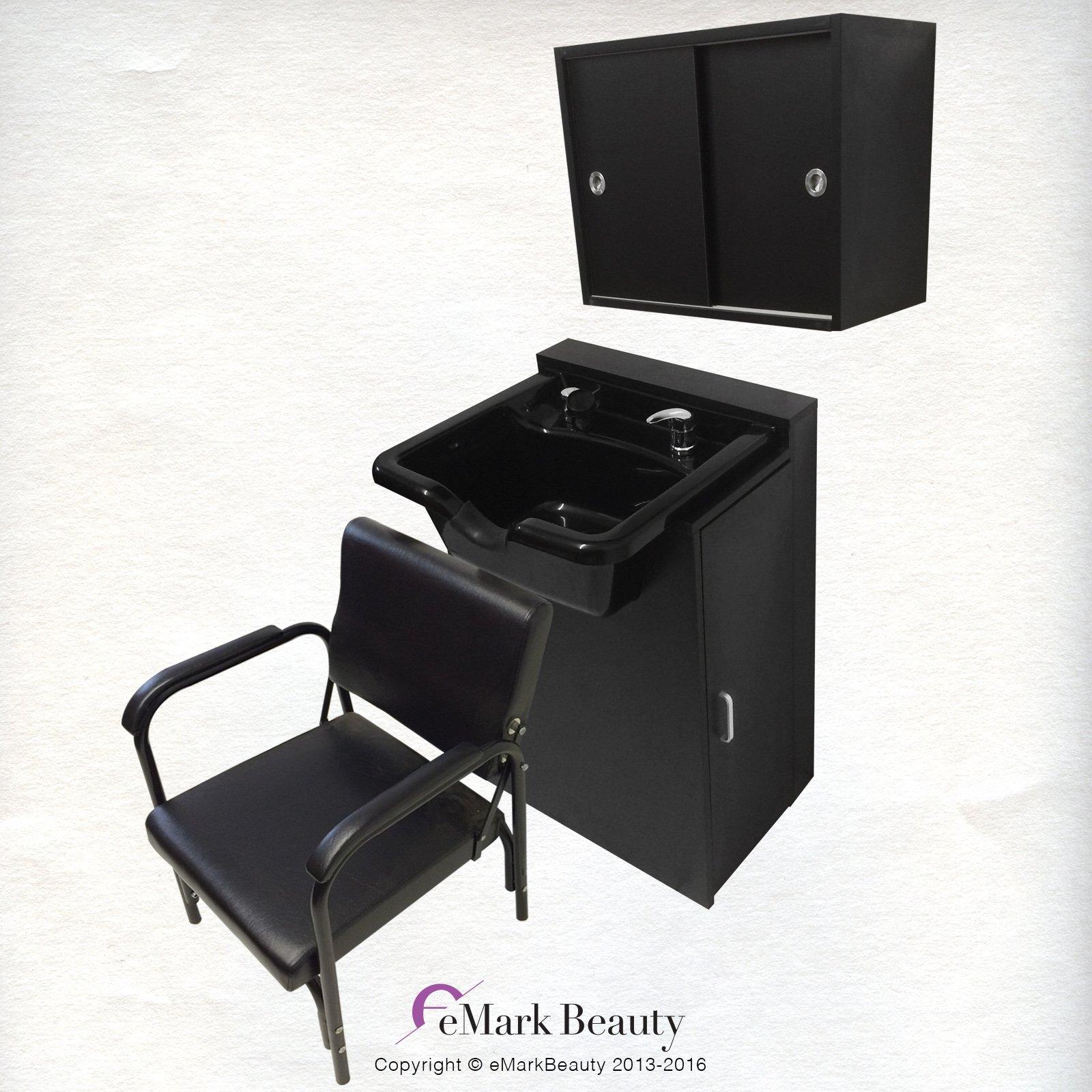 Extra Wide Black Shampoo Bowl Towel Storage Cabinet Reclining Chair Shampoo Cabinet