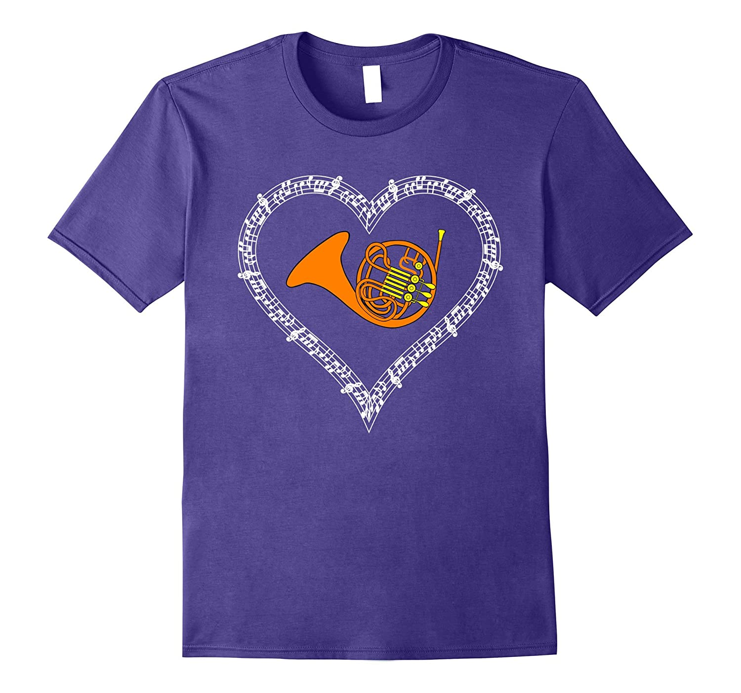 French Horn Musical Notes Marching Band Love Heart T-shirt-Art
