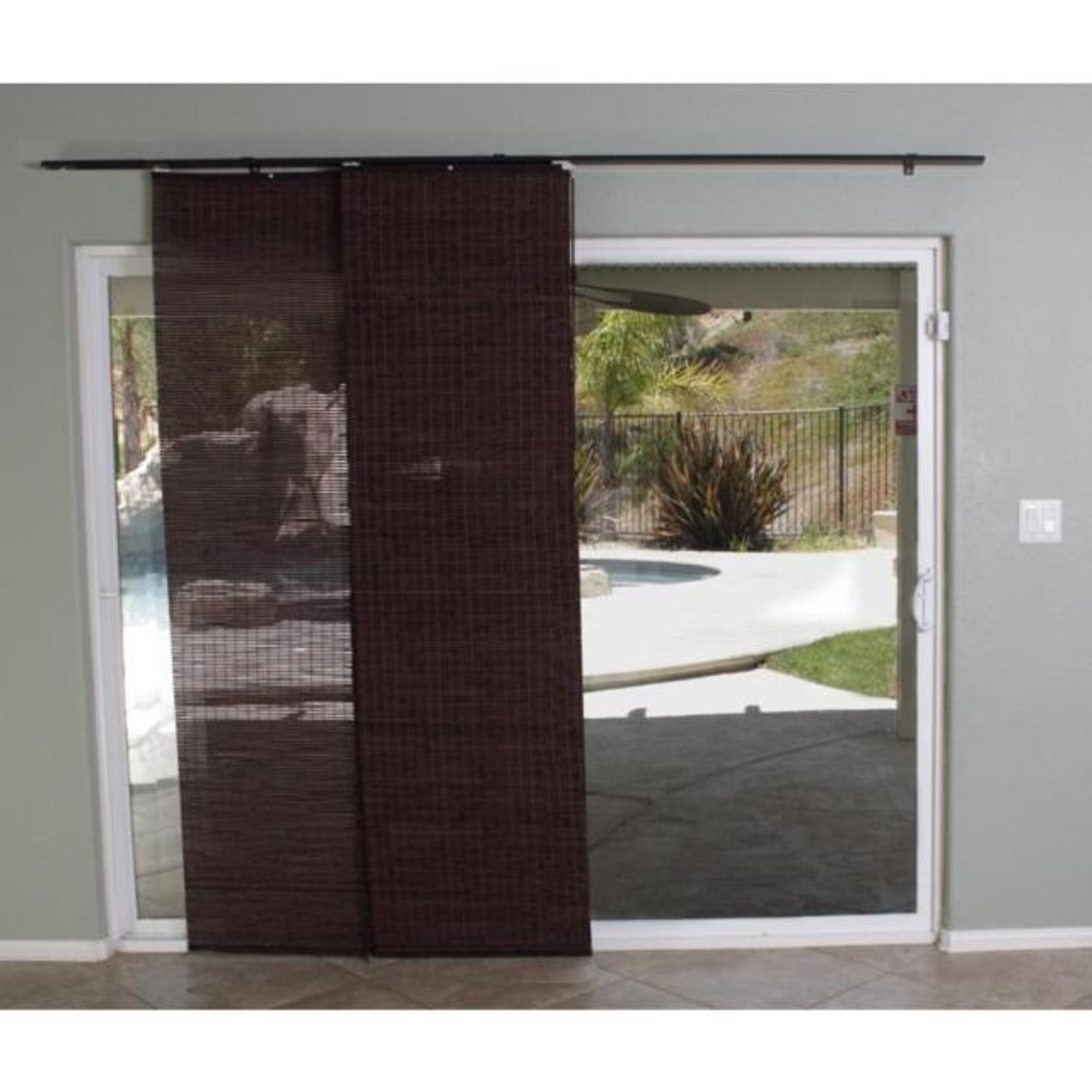 Special Decorative Sliding Patio Door Walnut Bamboo Panel Track, 78''W X 84'' L by Bamboo Panel Track