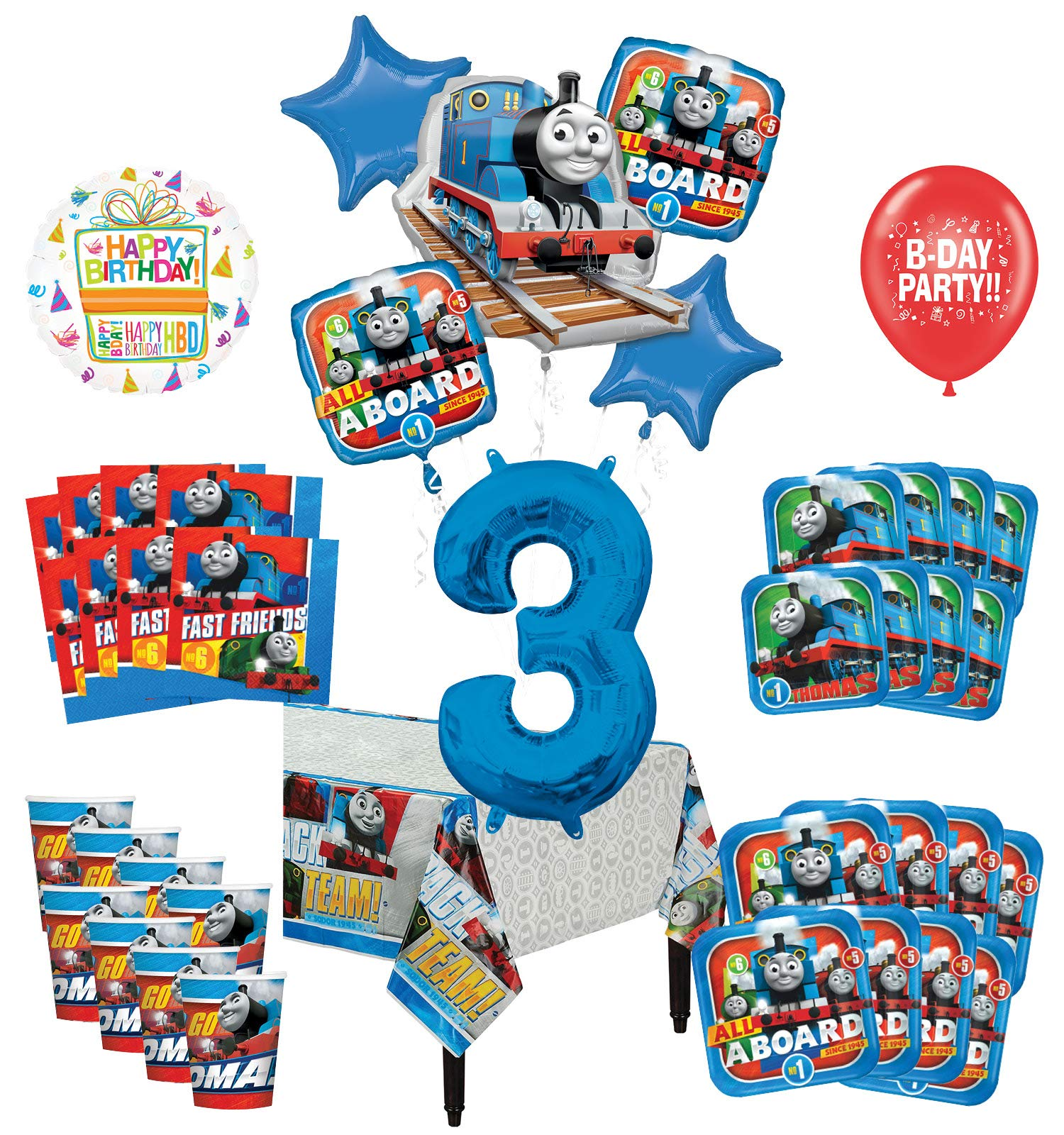 Mayflower Products Thomas The Train Tank Engine 3rd Birthday Party Supplies 16 Guest Decoration Kit and Balloon Bouquet