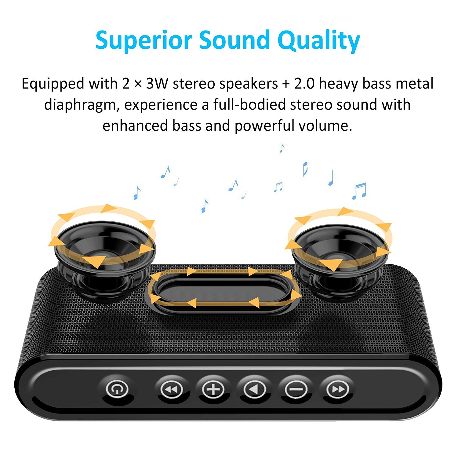 Bluetooth Speakers, 6W Touch Metal Speakers, Mini Portable Bluetooth 4.2 Wireless with Super Bass, Treble Stereo Subwoofer, Support TF Card, USB Disk, 3.5mm AUX Input,Mobile Computer Accessories by WORENMI (Image #3)