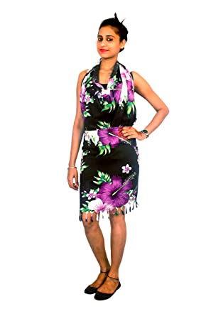 d9e3922c09 INDIAN FASHION GURU Women's Poly Cotton Rayon Beautiful Beach Wear Sarong,  Pareo, Wrap Swimsuit Cover Up (BO-SOR-02-0010, Multicolour, ...