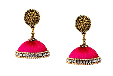 buy youth magenta silk thread jhumka earrings online at low prices