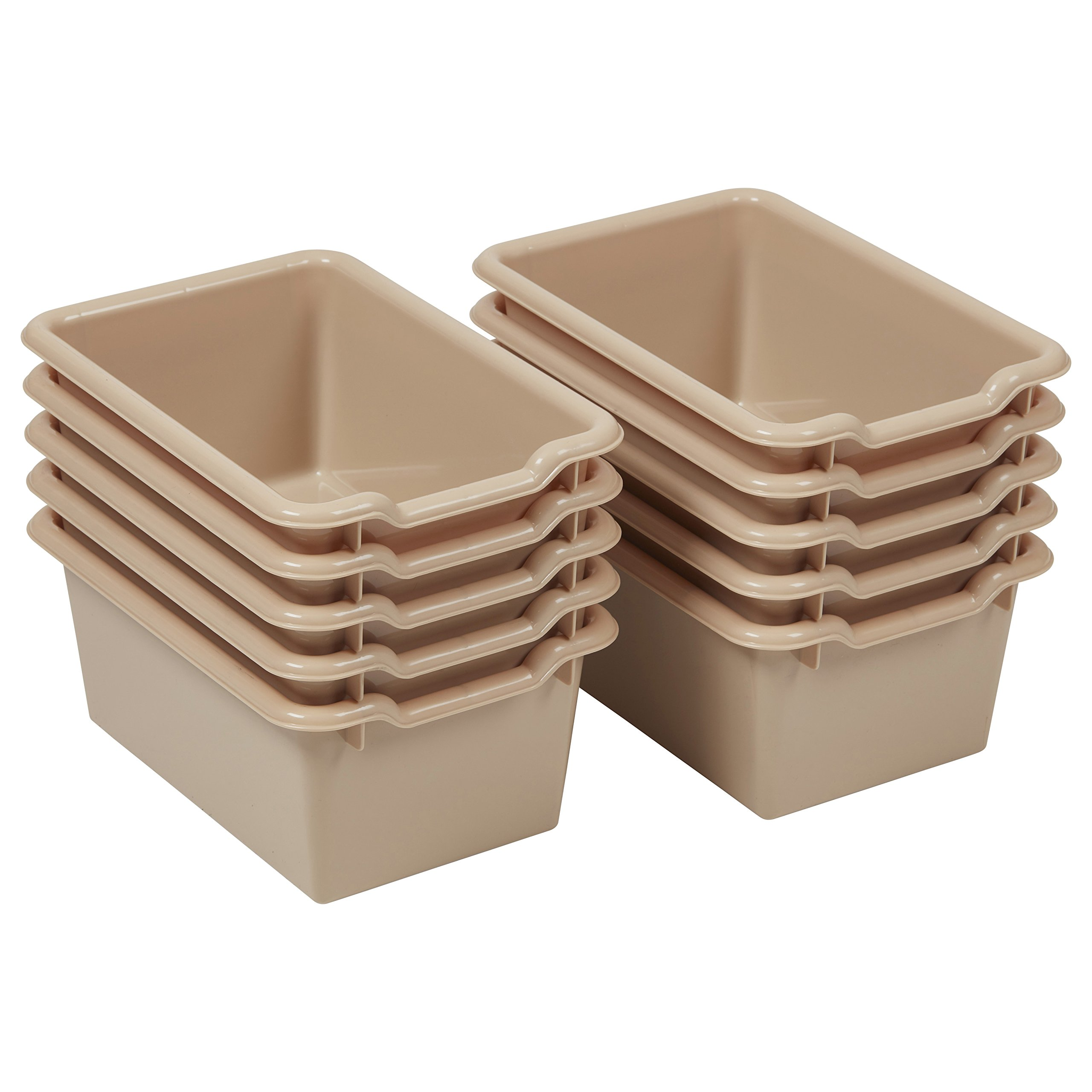 ECR4Kids Scoop Front Storage Bins, Sand (10-Pack)