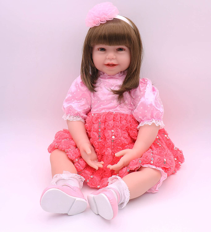 ピンキー24インチ61 cmソフト人形RebornベビーガールリアルなLook Real Newborn Doll Big幼児用Rebornsシリコン赤ちゃん   B07B6RTX1Z