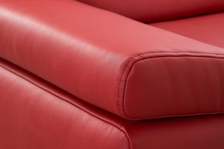 Inkl CAVADORE Eckcouch Corianne Couch L-Form in Lederoptik und modernem Design 282 x 80 x 162 beidseitiger Armteilverstellung und Longchair links Kunstleder braun