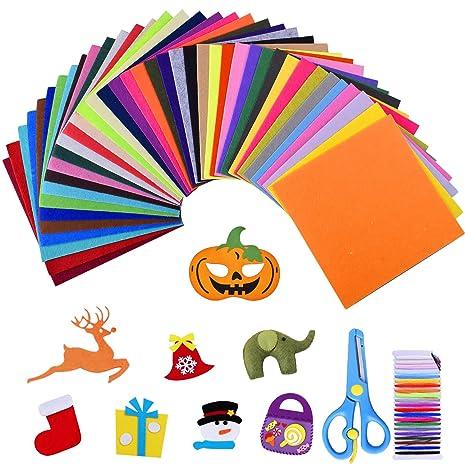40 Colores Diferentes 15 * 15 cm Fieltro y Cojín Manualidades Tela de Costura Bricolaje Tela de Fieltro Fieltro en Hojas (Estilo2-15 * 15 cm)