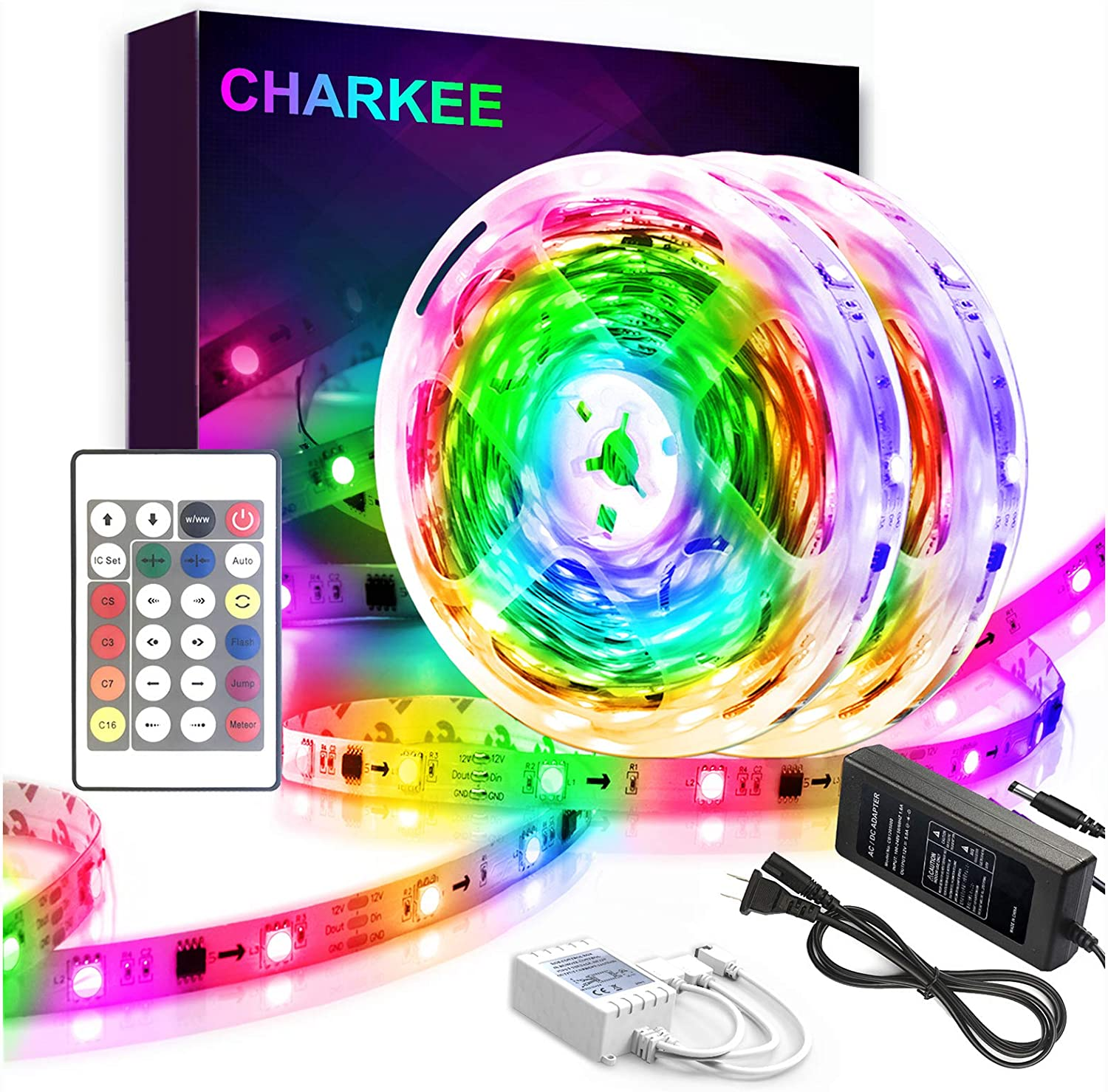 Amazon Com Dream Color Led Strip Lights Charkee 32 8ft Rainbow Color Changing Led Strip Multicolor Flexible Rope Light Light Strip Remote For Bedroom Home Living Room Home Improvement