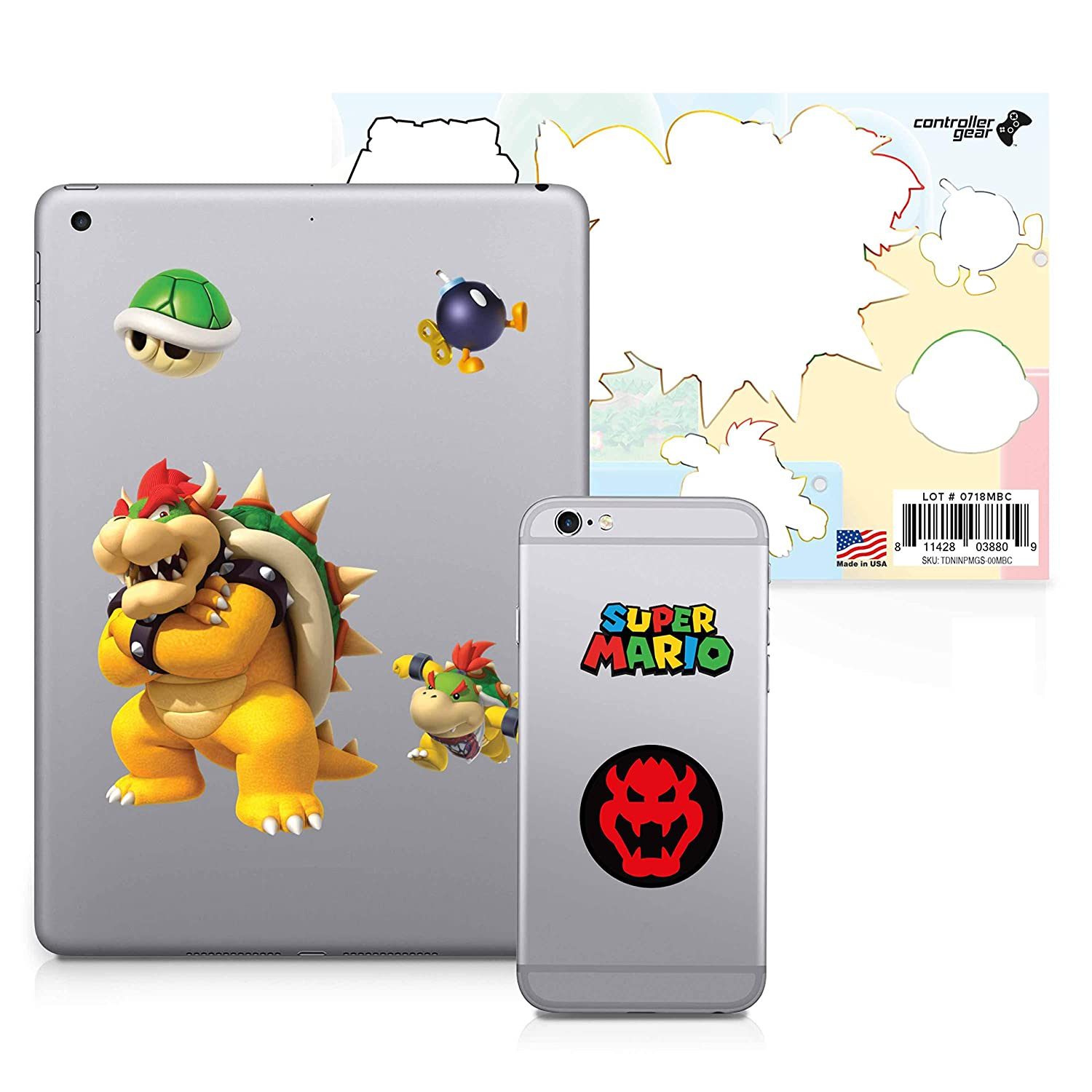Super Mario, 6 Pack, Bowser Tech Decals, Waterproof Stickers for Phone, Laptop, Water Bottle, Skateboard, Vinyl Stickers for Boys and Girls