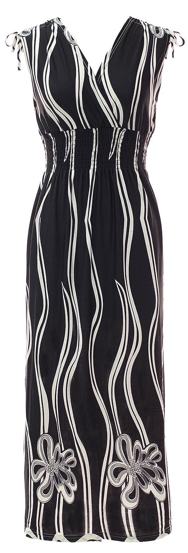 Wavy Floral  Black Plum Feathers Poly Span Empire Waist Summer Prints Maxi Dress