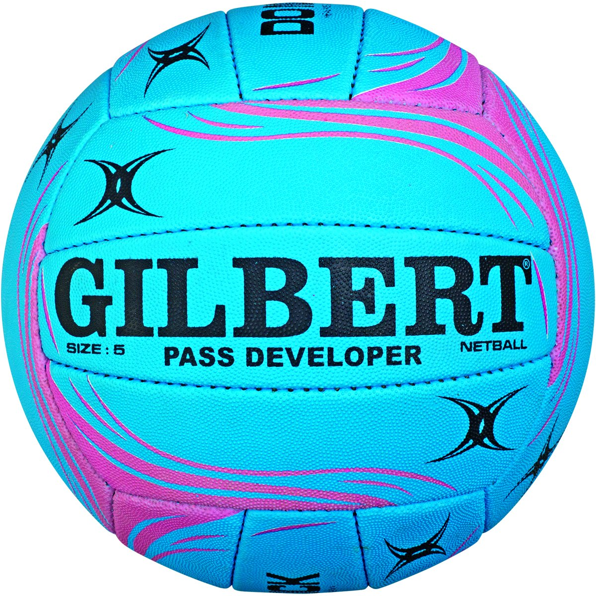 Gilbert Ballon Entraî nement de Netball Dé veloppeur de Passe - Bleu/Rose Taille 5 Grays 86883705