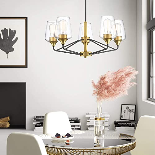 MOTINI 5 Light Large Chandelier Black and Gold Brushed Brass Clear Glass Shades Modern Ceiling Hanging Pendant Lighting Fixture