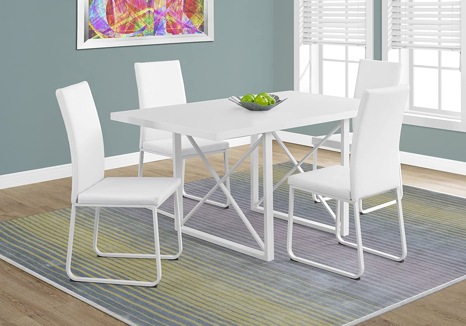 Monarch Specialties I Dining Table 36 X 60 Glossy White Metal