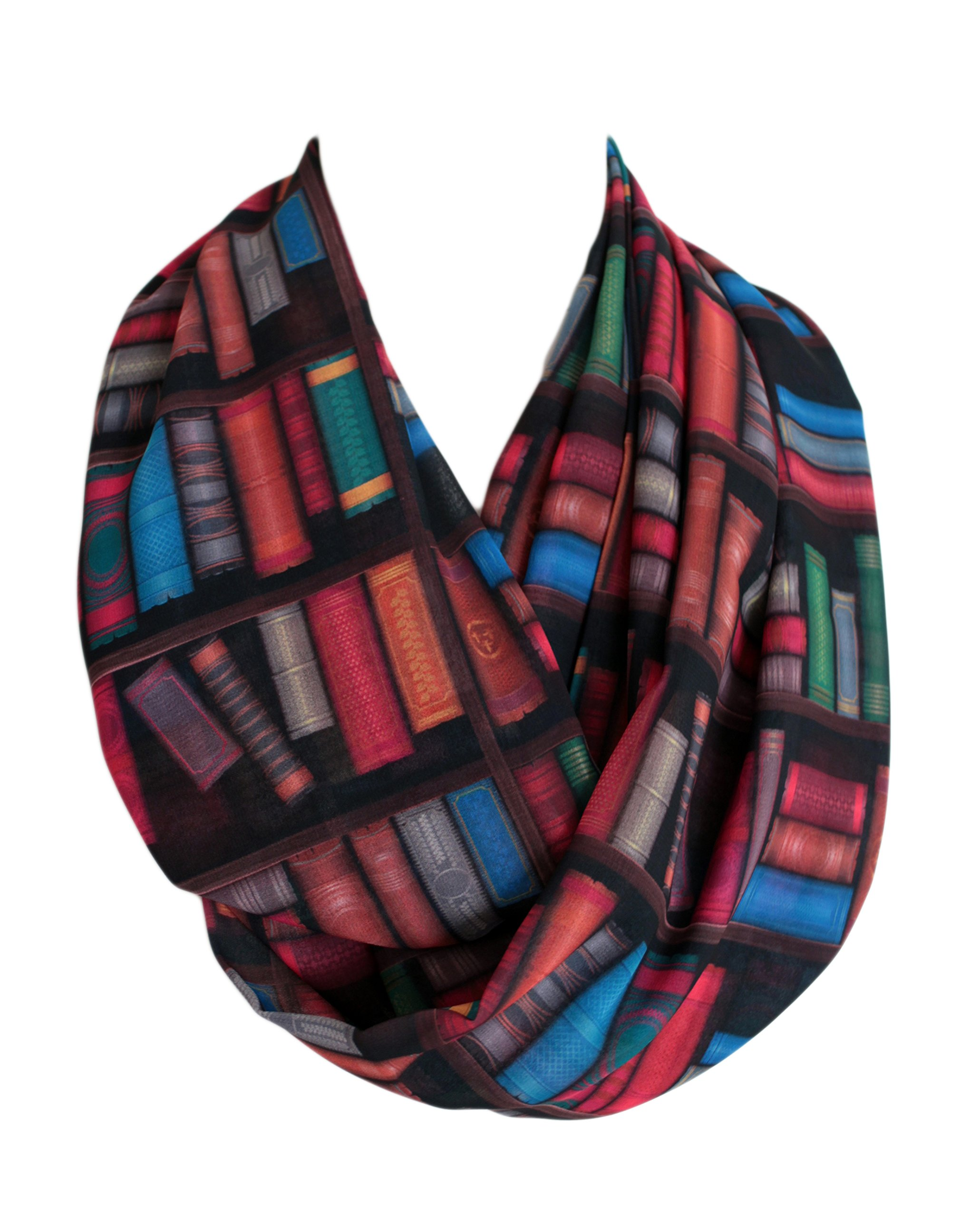 Etwoa's Bookshelf Colorful Books Infinity Scarf Circle Scarf Loop Scarf