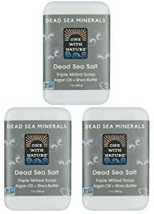 DEAD SEA Salt SOAP 3 PK - Shea Butter, Argan Oil, Magnesium, Sulfur, Minerals. All Skin Types, Problem Skin. Acne Treatment, Eczema, Psoriasis, Therapeutic, Natural, Fragrance Free, 7 oz Bars