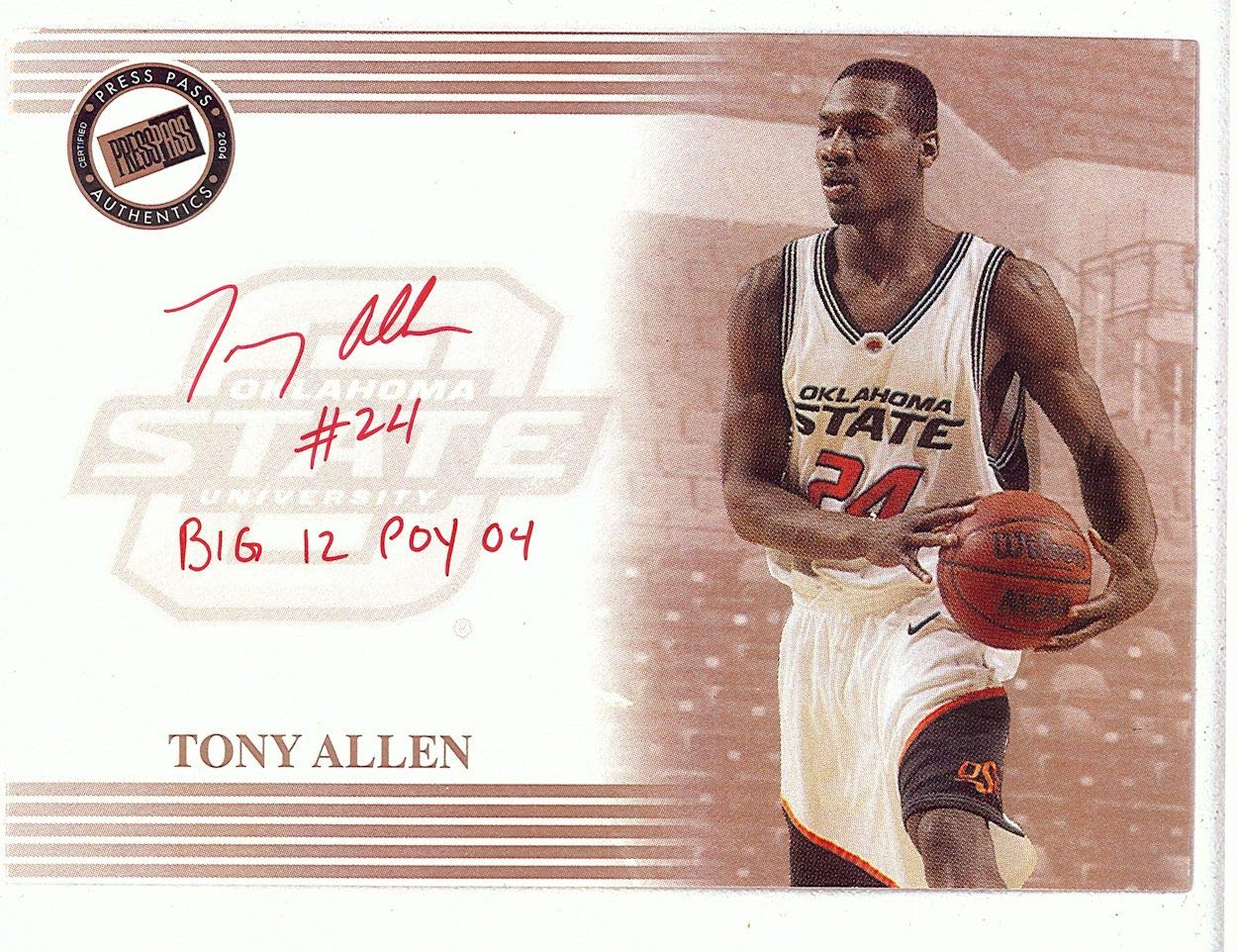 Tony Allen Signed Autographed 8.5X11 Photo Press Pass Enlarged Card w/COA