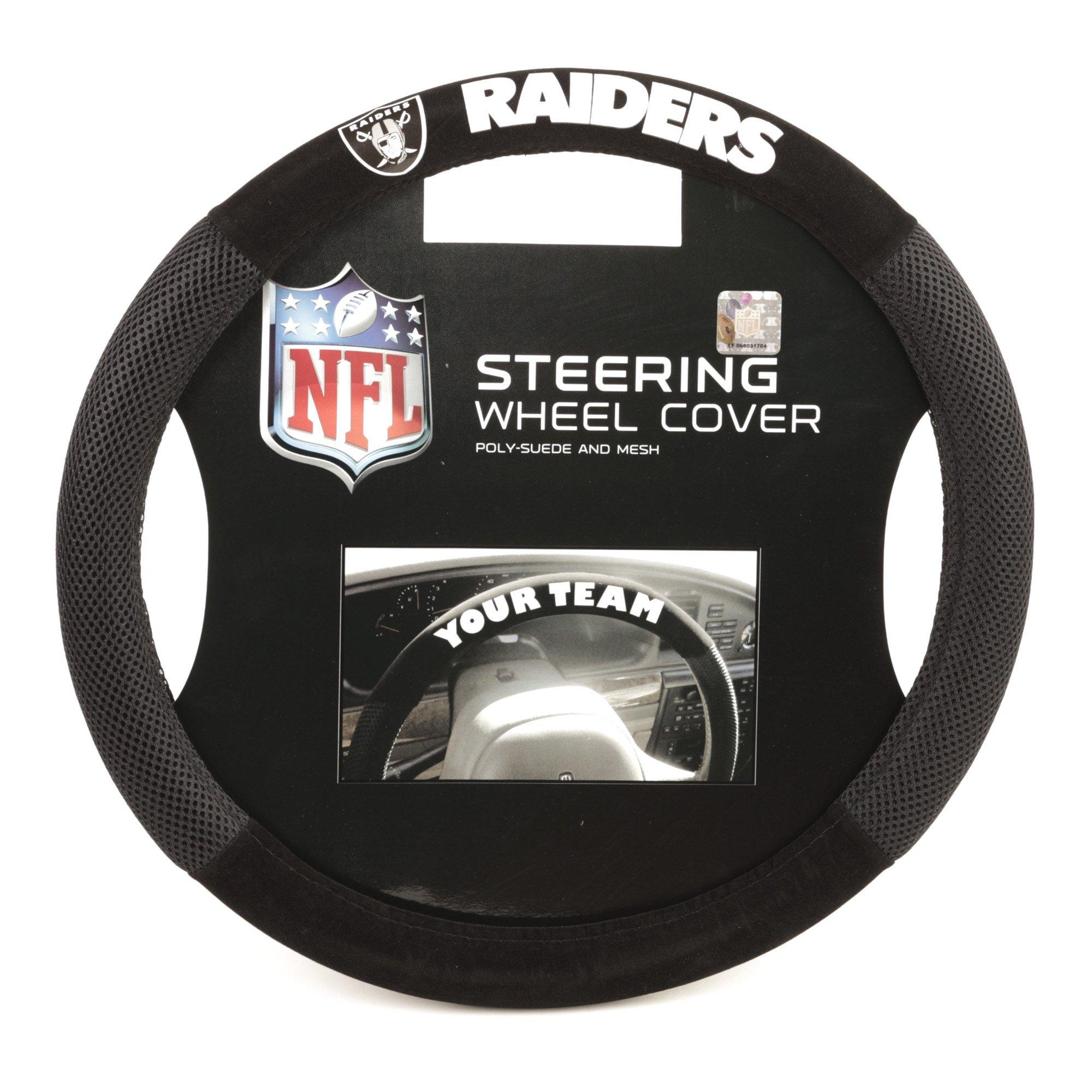 Fremont Die NFL Oakland Raiders Poly-Suede Steering Wheel Cover