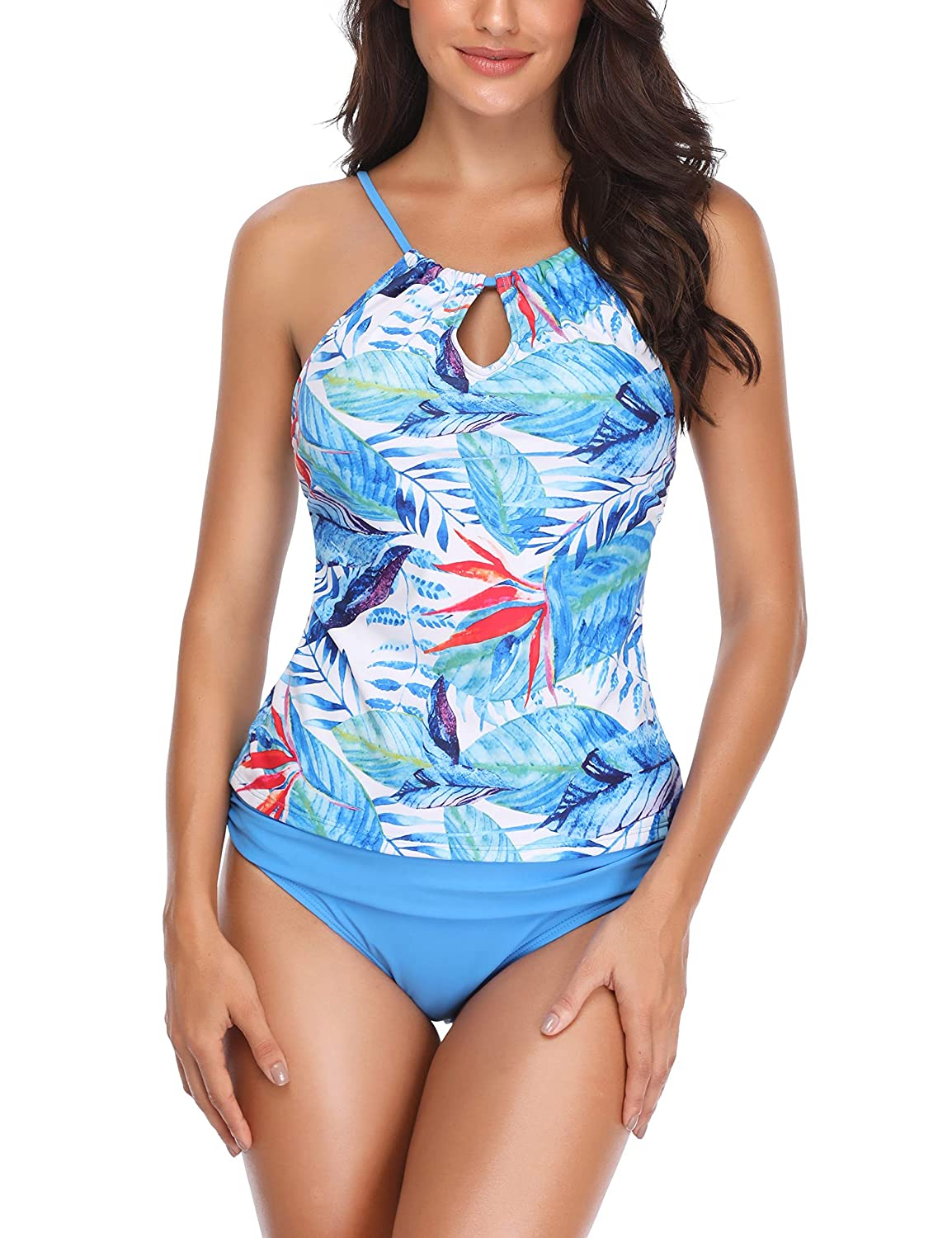 977bfe5684e85 Memory baby Women's Two Piece Plus Size Backless High Neck Halter Floral  Printed Top with Hipster Bottoms Tankini Set at Amazon Women's Clothing  store: