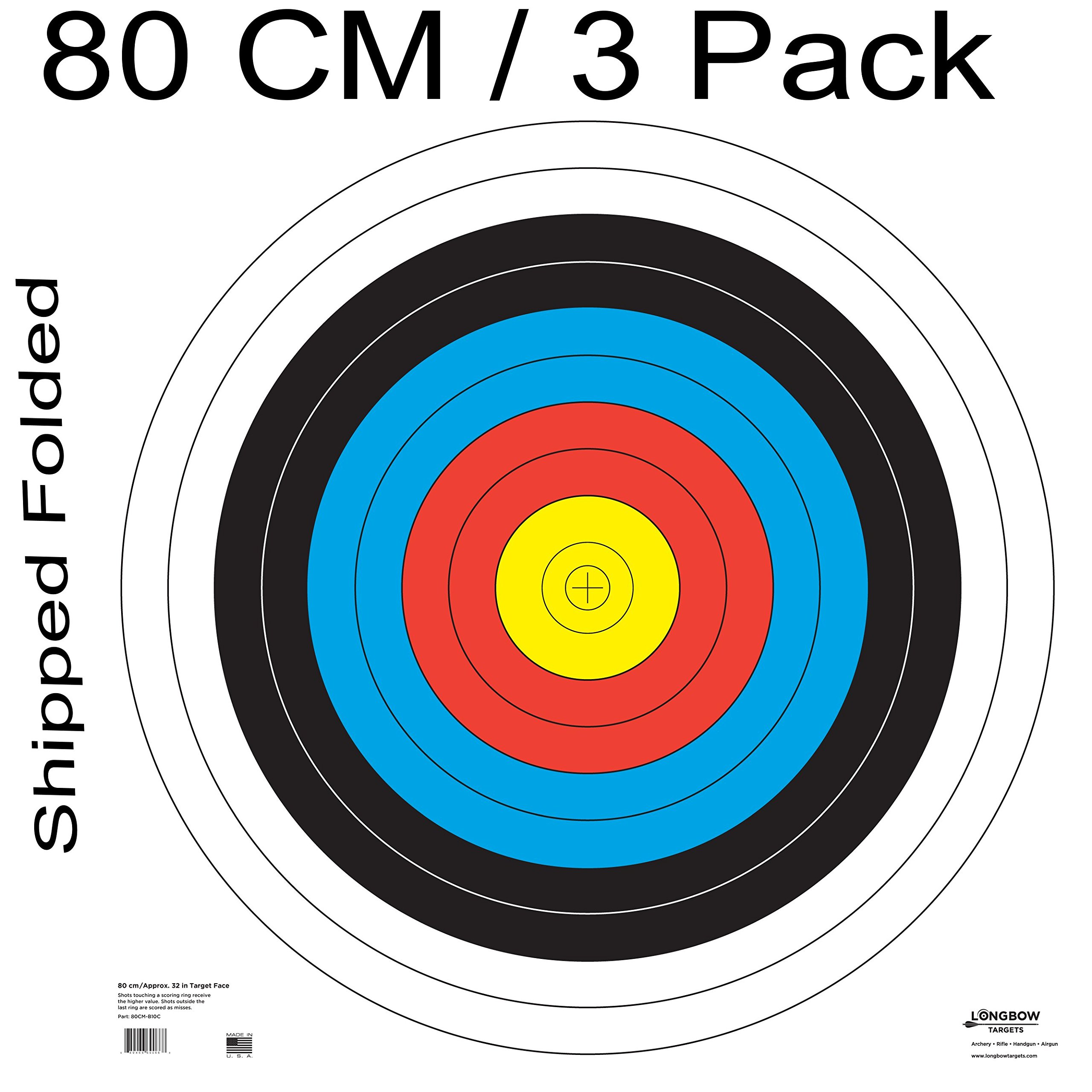 Archery 40cm & 80cm Targets by Longbow (3 Pack (80cm) Folded, 80cm Archery Paper) by Longbow Targets