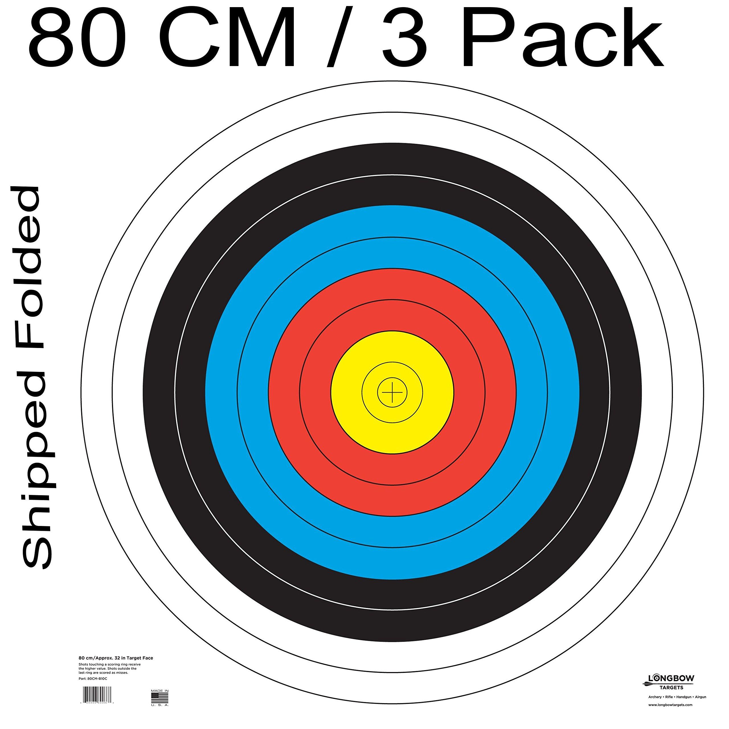 Archery 40cm & 80cm Targets by Longbow (3 Pack (80cm) Folded, 80cm Archery Paper)
