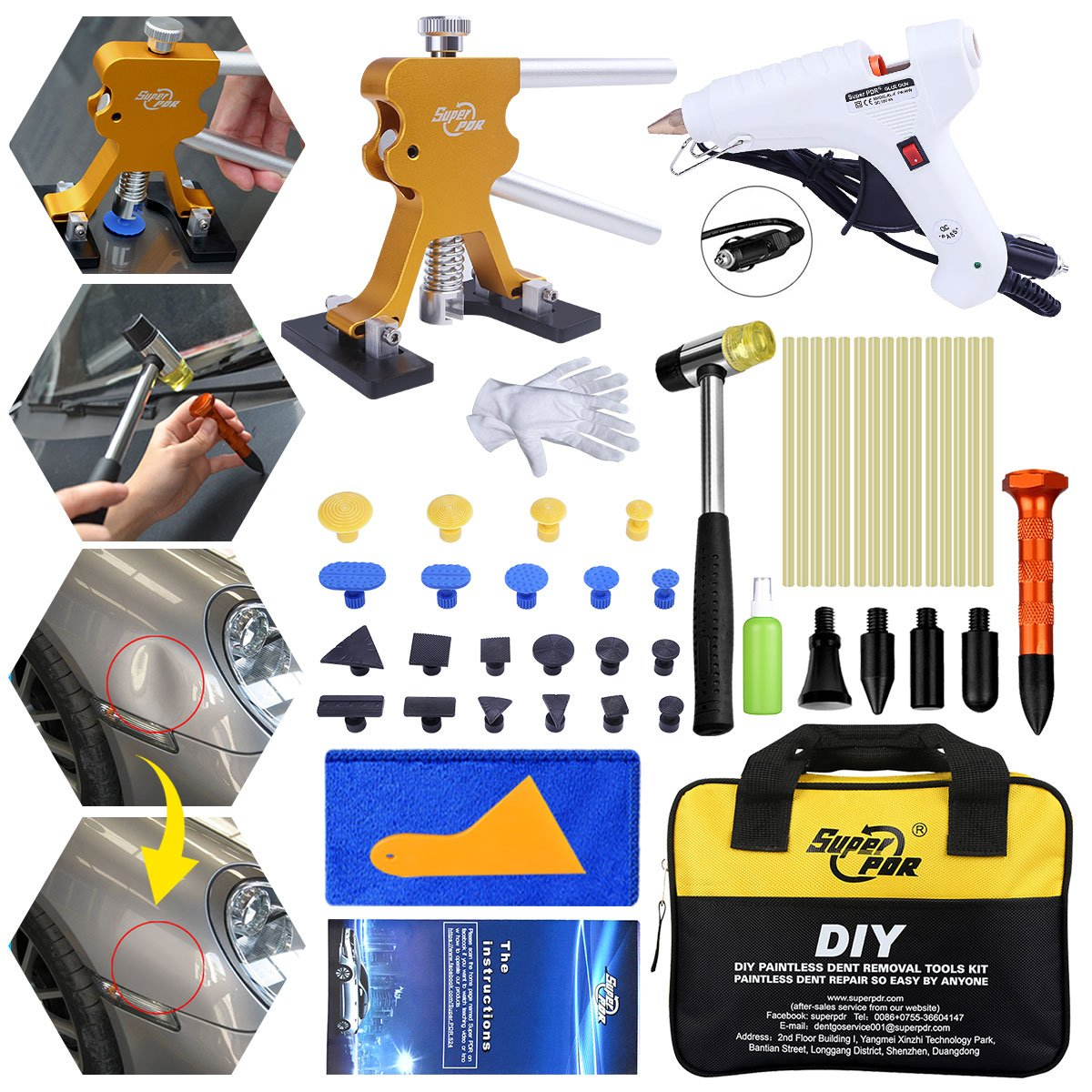 Fly5D 45Pcs Auto Car Body Paintless Dent Removal Tools Kit Pops a Dent Door Dings Popper Repair Puller Kits with Tap Down Tools