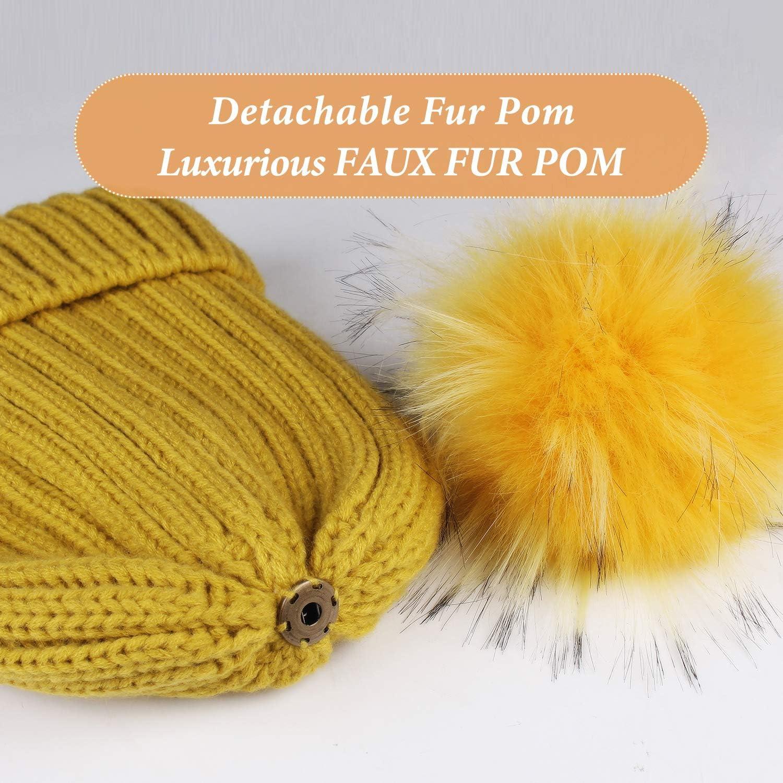 camptrace Winter Hats for Women Knit Beanie Hat Warm Soft Fleece Lined Thick Skull Ski Cap Faux Fur Pom Pom Hat