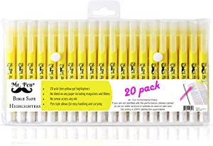 Mr. Pen- Gel Highlighters, Bible Highlighter, Pack of 20, No Bleed Highlighter, Yellow Highlighters, Dry Highlighter, Bible Study Highlighter, Bible Journaling Supplies, Bible Markers for Tabs