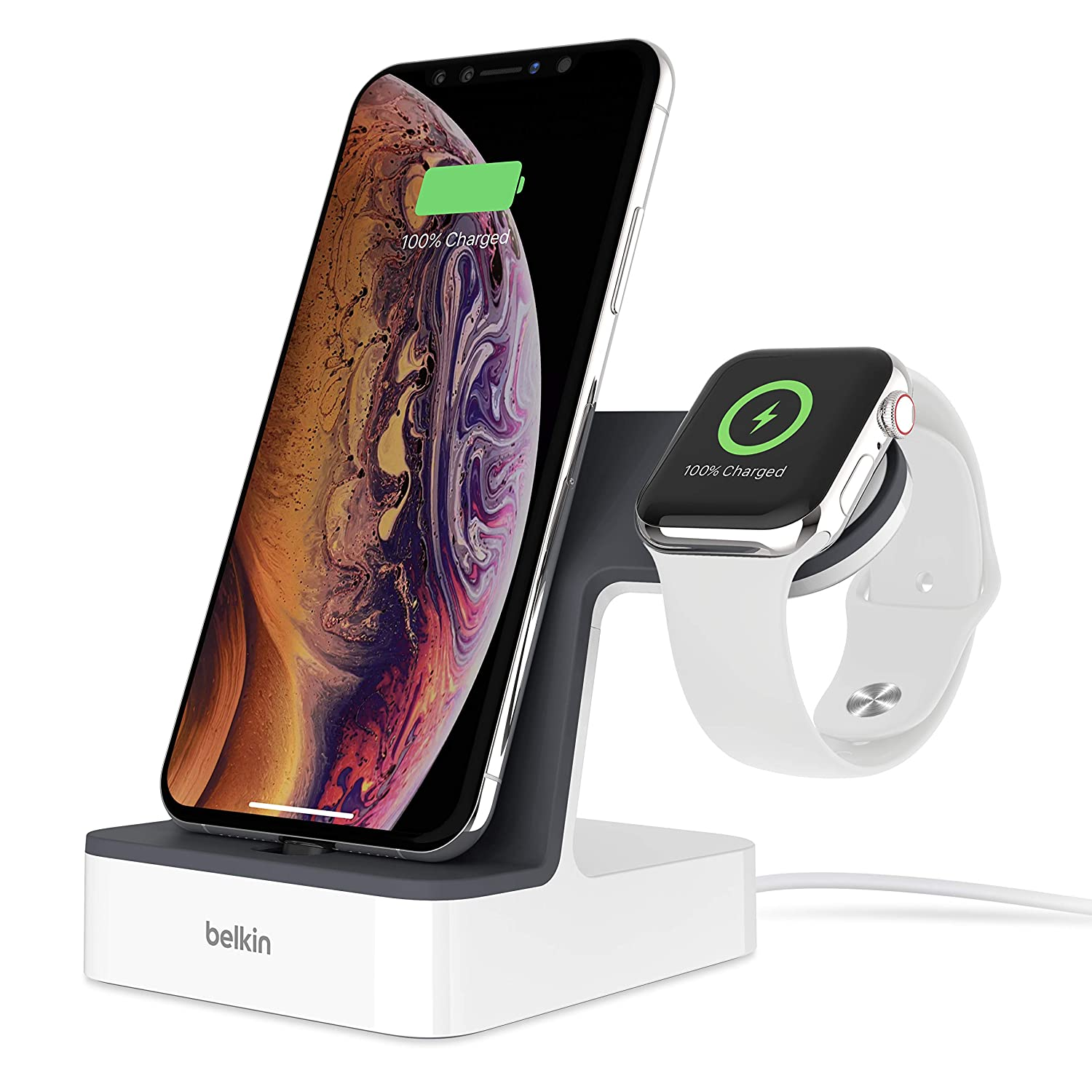 Belkin PowerHouse, Base de Carga para Apple Watch + iPhone, Blanco