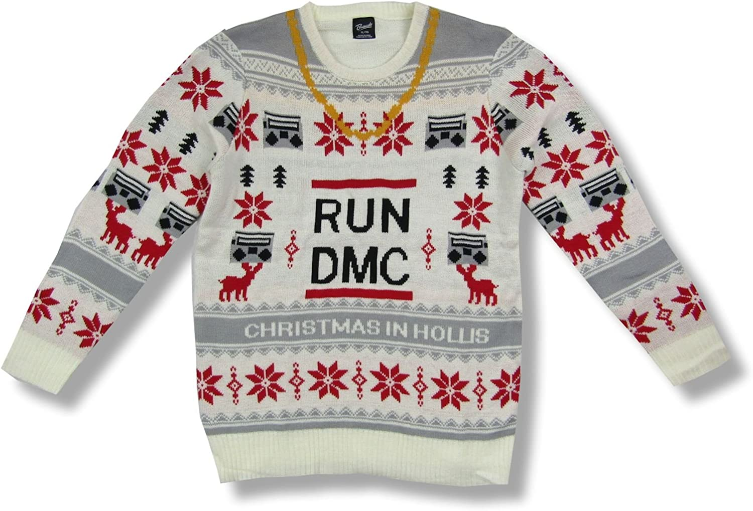 Run DMC Chain Necklace Boombox Ugly Xmas Christmas Sweater
