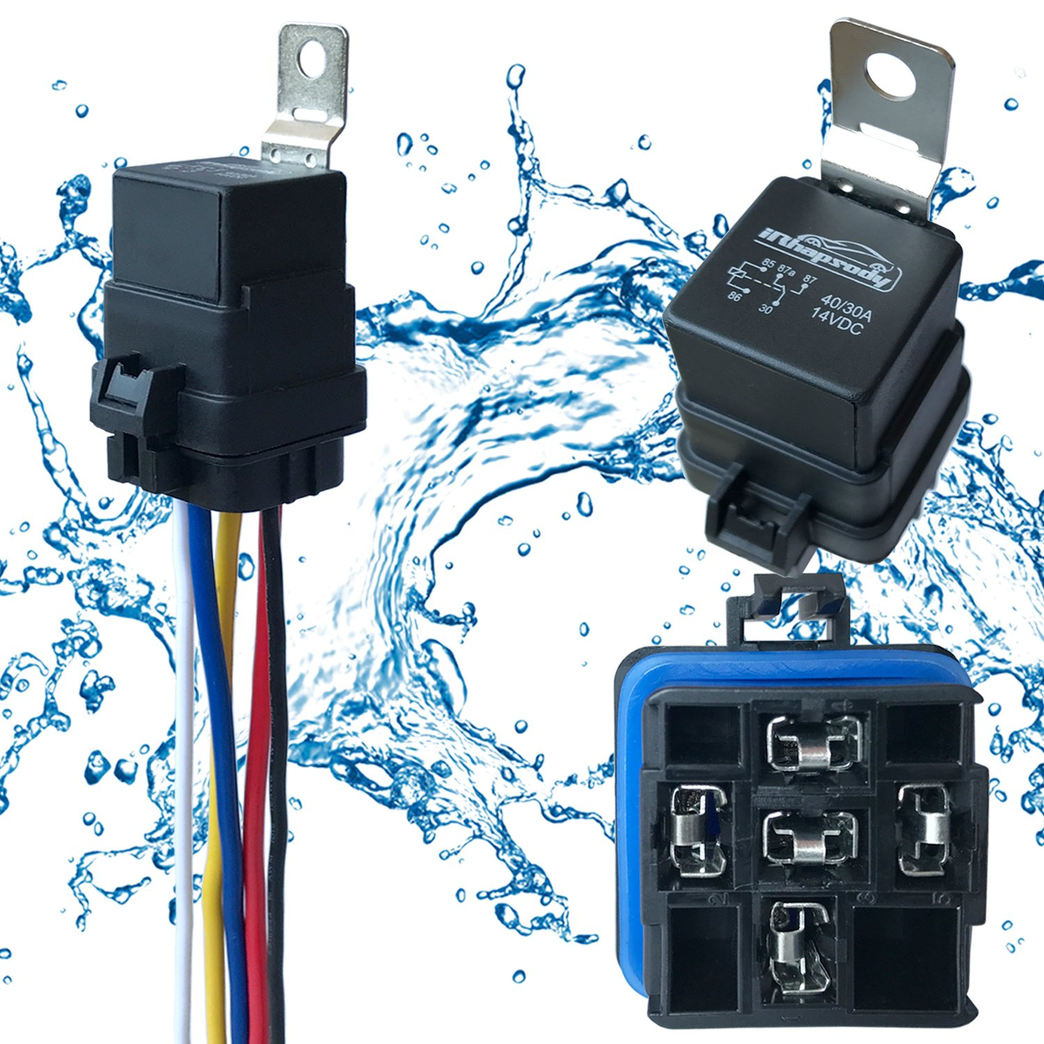 Amazon.com: 1 PACK 40/30 AMP Waterproof Relay and Harness - Heavy ...