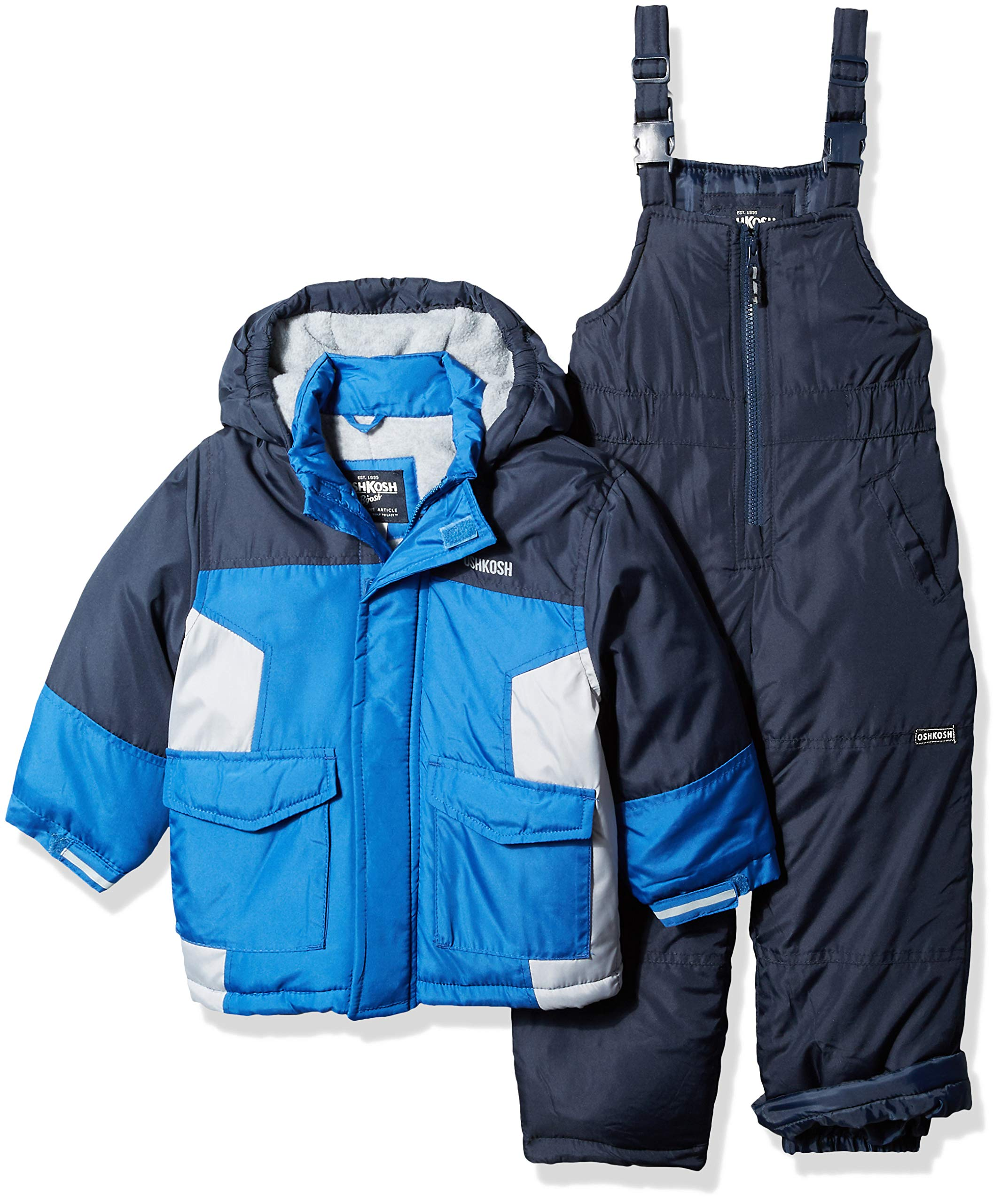 Osh Kosh Boys' Little Ski Jacket and Snowbib Snowsuit Set, deep Navy/Wolf Grey, 5/6