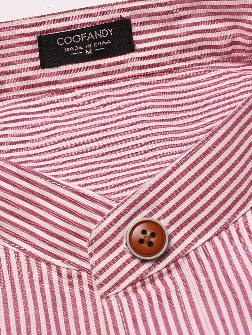COOFANDY Mens Slim Fit Banded Collar Dress Shirt Casual Long Sleeve Striped Button Down Shirt