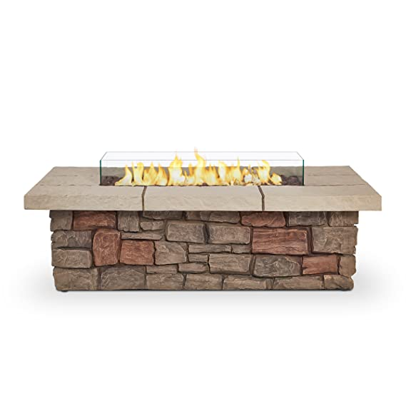 "Real Flame 11812LP Sedona 52"" Rectangle Propane Fire Table, Large, Buff"