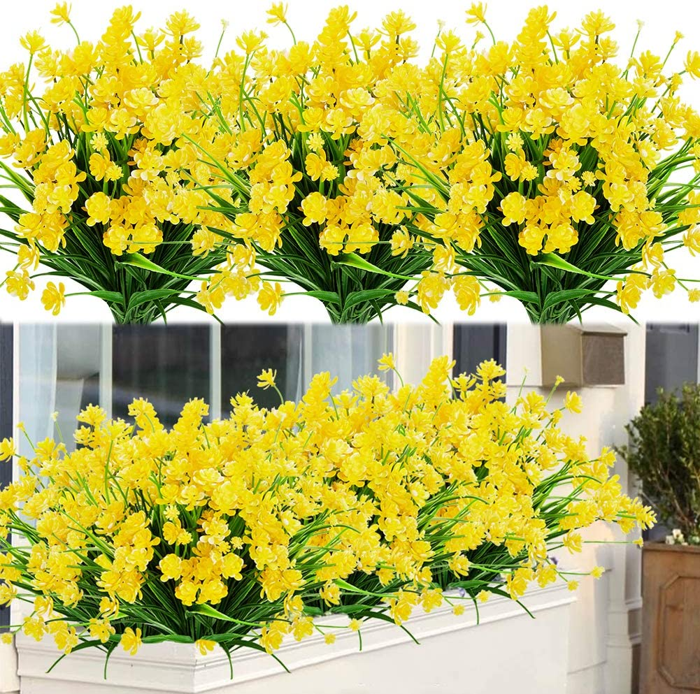 ArtBloom 8 Bundles Outdoor Artificial Fake Flowers UV Resistant Shrubs Plants, Faux Plastic Greenery for Indoor Outside Hanging Plants Garden Porch Window Box Home Wedding Farmhouse Decor (Yellow)