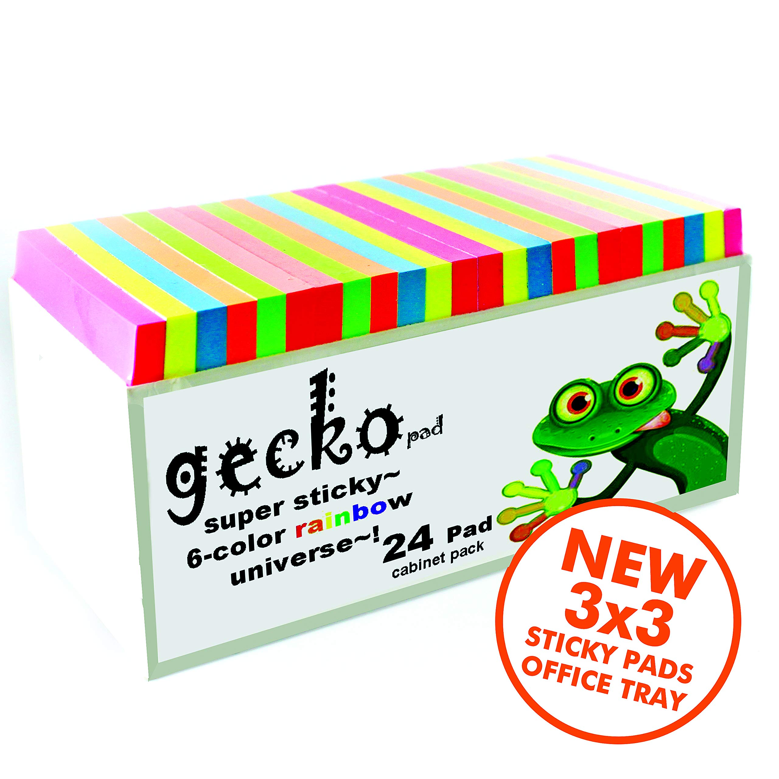 6-Color Gecko Super-Sticky-Note pad Cabinet Pack 3 x 3 inch Rainbow Bright Unique Collection 24 Set 70 Sheet for Office-Home-School Supplies tab and Note Dispenser