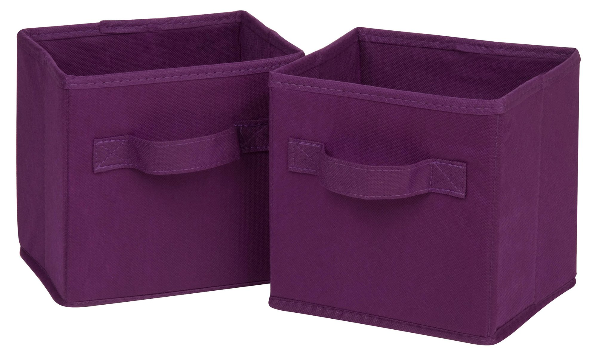 Honey-Can-Do SFT-02088 Mini Soft Fabric Storage Bin, 2-Pack, Purple, 7 by 7 by 5.75-Inch
