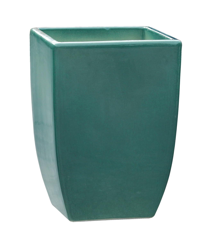 Großer Pflanztopf Pflanzkübel eckig frostsicher Größe L 28 x B 28 x H 39 cm, Farbe effekt grün, Form 227.039.66 Pflanzkübel quadratisch Qualität von Hentschke Keramik